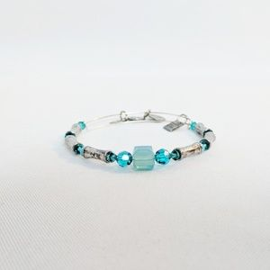 Alex and Ani Silver Teal Charity Beaded Bracelet